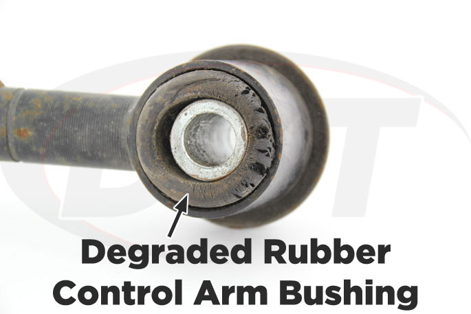 worn rubber control arm bushing